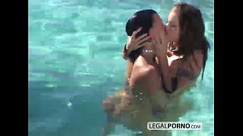 Two girls playing rough on a poolside BP-1-05 video