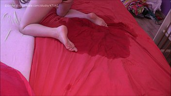 Bloated bladder holding pee Hd bedwetting in pink panty
