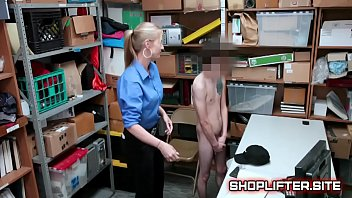 Excited Police Lady Gets Boy Hard In Backroom