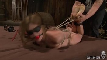 Ball gagged and blindfolded whore Star Nine gets foot and nipple tortured