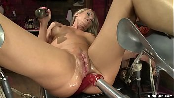 Busty MILF squirting on fucking machine