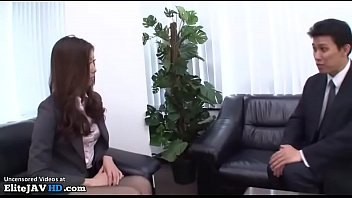 Japanese office interview turns in pantyhose sex