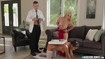 Busty MILF bangs ebony maid and butler
