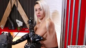 Busty TS Angie D masturbates her shecock