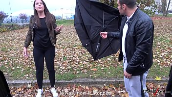 Cum swallower with broken umbrella cheated on the street and fucked by stranger