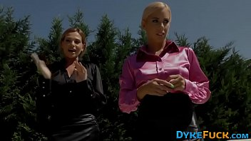 Glam clothed euro lesbian group babes
