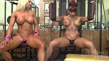 Female heavy muscle lesbian porn Naked female bodybuilder muscle lesbians in the gym