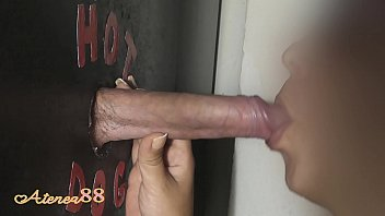 Young girl swallows milk on her first visit Glory Hole