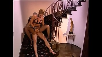 Horny blonde weared erotic lingerie babe gets a faceful of cum after getting her pussy pounded on the stairs
