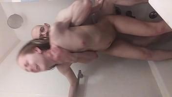 Fucked in her mans shower