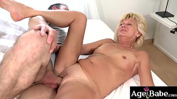Granny Diane ride and bounce on Rob's young cock