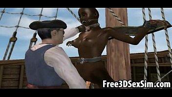 Ebony femdom cartoons Sexy 3d cartoon ebony honey fucked on a pirate ship