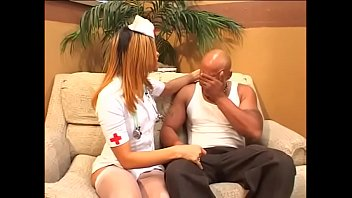 Hot redheads in uniform Randy black guy gets a hot nurse in white lingerie to ride his tool