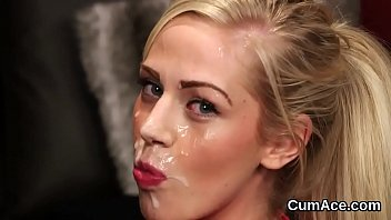 Foxy peach gets cumshot on her face eating all the cream porno izle