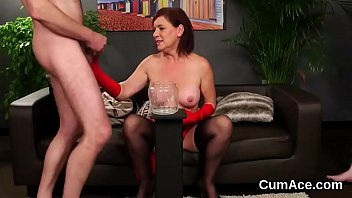 Wacky beauty gets cumshot on her face eating all the cream