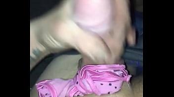 Man ties panties around his big dick, big cock pink panties