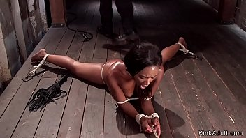 Ebony tied up to the floor with ass hook