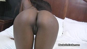 Busty chocolate amateur fucked hard on casting