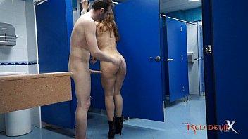 Hot brunette fucking in a public restroom - Laurita Peralta