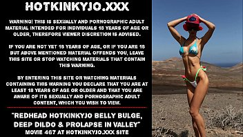 Redhead Hotkinkyjo belly bulge, deep dildo & prolapse in rocky valley 73 sec