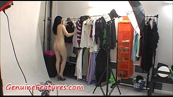 Backstage with beautiful and funny brunette 13 min