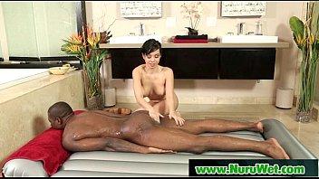 Image: Slippery brunette takes cum and gives nuru massage 27