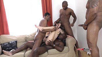 Mega interracial Gangbang - Arwen Gold versus 4 huge black cocks