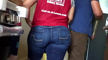 big fat ass pawg in jean shorts candid