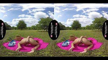 Solo Ornela Morgan is masturbating in the nature, in VR