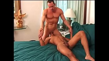 Bend gay over - Horny ebony dude bends over for thick man sausage and takes load on his abs