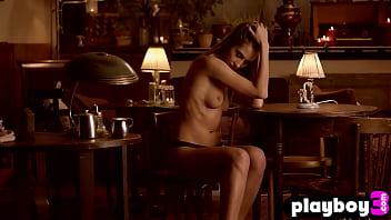 Brunette babe posed in hot lingerie before striptease