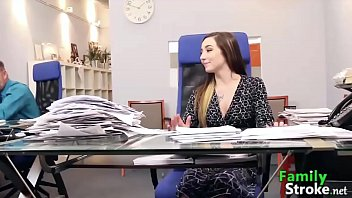 Adorable Teen and Daddys Cock's at Office: FamilyStroke.net