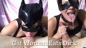You Won't Believe This Amazing Sloppy Deepthroat! Cat-Woman Sucks For Cum