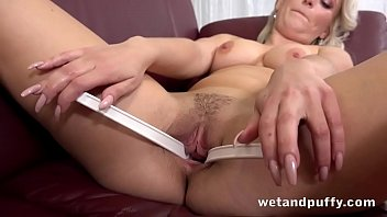 Shy Blonde Livens Up While Fucking Dildo