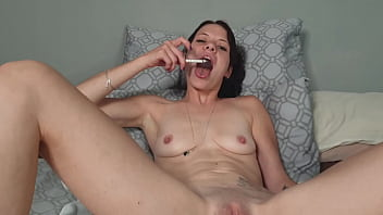 Small titted milf smoking and ashing in her fuck holes