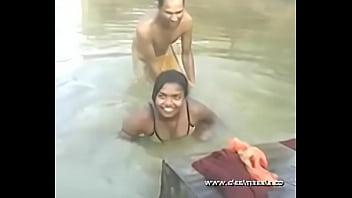 desimasala.co - Young girl bathing in river with boob press - DesiMasala