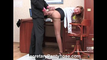 Sexy secretary in pantyhose