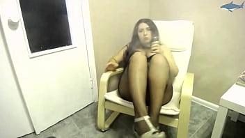 Big Boobs Girl in in Stockings Smokes