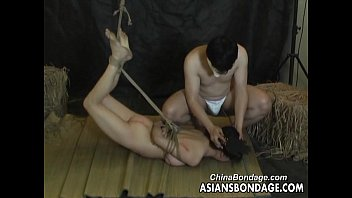 Asian bondage ropes Asian slut is properly tied up by her man bdsm style