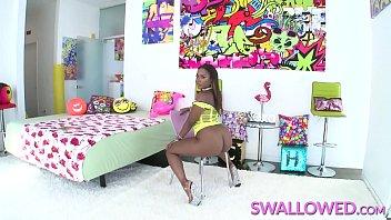 SWALLOWED Ebony Chanell Heart deepthroats a white dick 12 min
