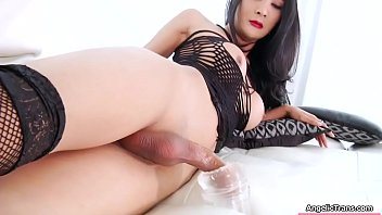 Asian Tbabe toys and jerks off her boner