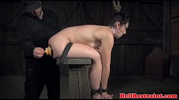 Suctioncup dildo movie Bound sub whipped while gagged