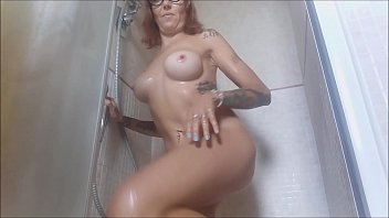 Incredible! spy on me while undressing to get a nice hot shower, not before I soaped and massaged for a long time the big tits