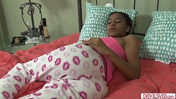 Ebony babe banged by white stepdad
