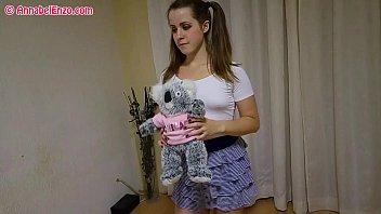 Pantyless/Braless Upskirt Workout with Teddy Bear