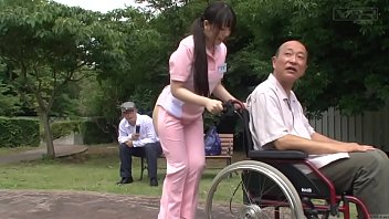 Subtitled bizarre Japanese half naked caregiver outdoors 5 min