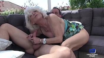 Slutty cougar Eva fucked in the garden lounge