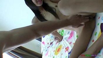 Creampie inside pussy of slim oriental girl