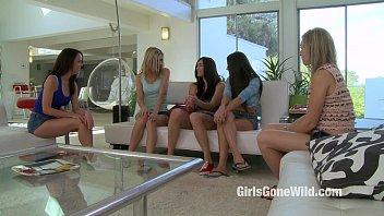 5 Girls Have Lesbian Orgy - Five Girl On Girl Sex Scene - Girls Gone Wild
