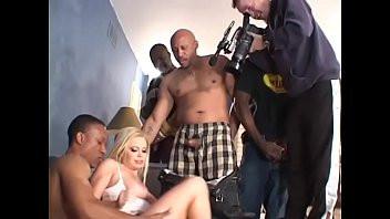 Blonde sex-bomb Alicia Rhodes with huge boobs really gang-banged with black dicks